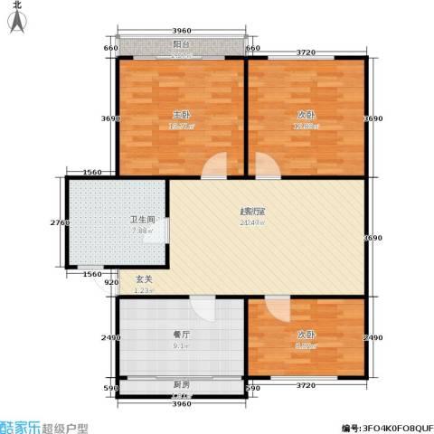 朝晖二区3室1厅1卫1厨85.00㎡户型图