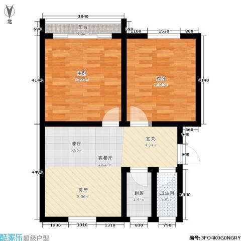 机神新村2室1厅1卫1厨62.00㎡户型图