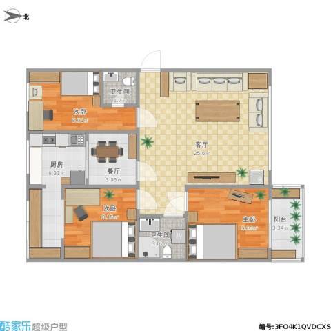 武定苑3室2厅2卫1厨97.00㎡户型图