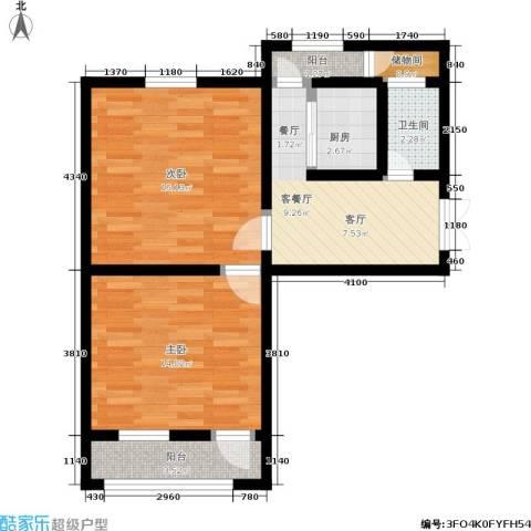 采荷东区2室1厅1卫1厨60.00㎡户型图