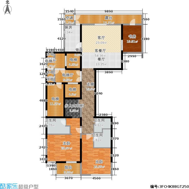 融泽府225.28㎡G座C14户型-三室二厅三卫-14层户型
