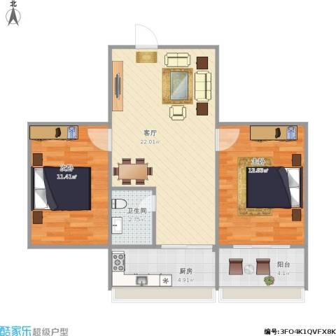 合作小区2室1厅1卫1厨62.38㎡户型图