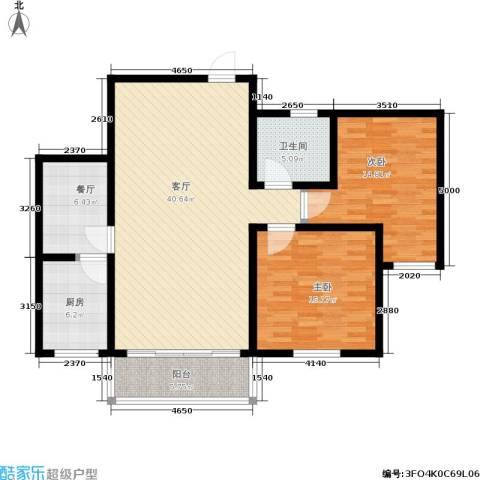 西湖花园2室2厅1卫1厨107.00㎡户型图