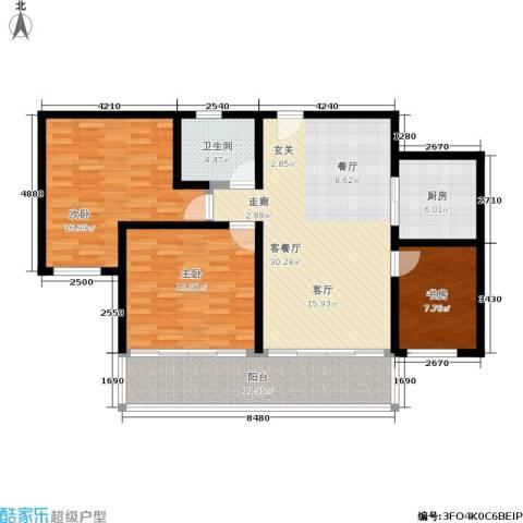 西湖花园3室1厅1卫1厨106.00㎡户型图