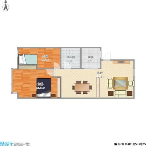 吴宝新村2室1厅1卫1厨80.00㎡户型图