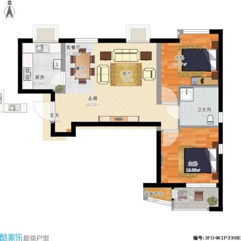 明湖・白鹭郡2室1厅1卫1厨91.00㎡户型图