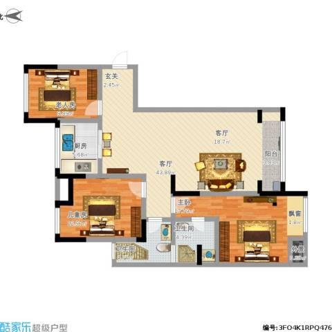 万和华府3室1厅2卫1厨144.00㎡户型图