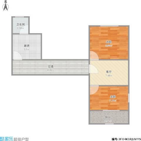 曹杨八村2室1厅1卫1厨60.00㎡户型图
