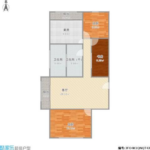 白玉兰家园3室1厅1卫1厨120.00㎡户型图