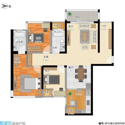 博众新城二期2室1厅2卫1厨126.00㎡户型图