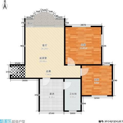 东海花园2室0厅1卫1厨78.00㎡户型图