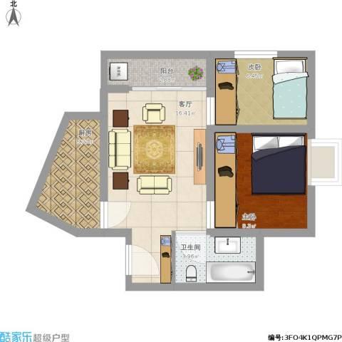 竹园阳光嘉苑2室1厅1卫1厨65.00㎡户型图