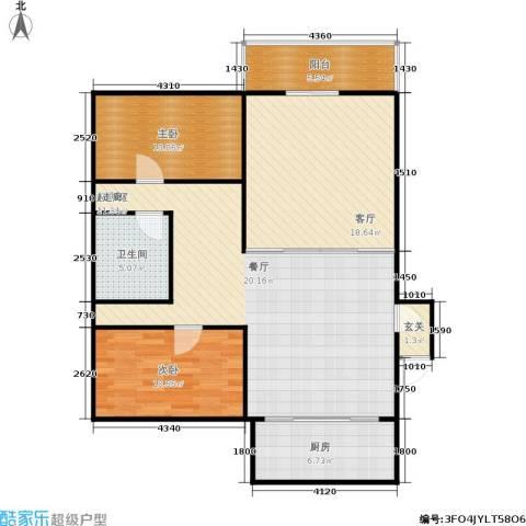 金桥花园2室1厅1卫1厨96.00㎡户型图