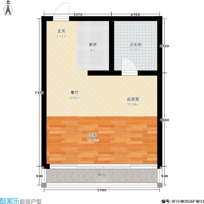 金厦公寓48.00㎡面积4800m户型
