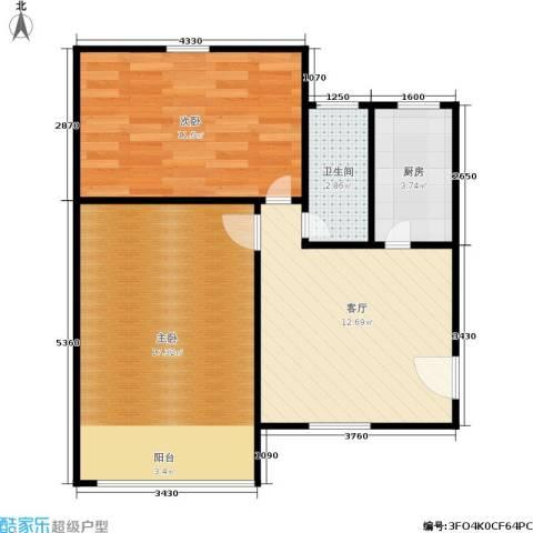 三里亭四区2室1厅1卫1厨52.00㎡户型图
