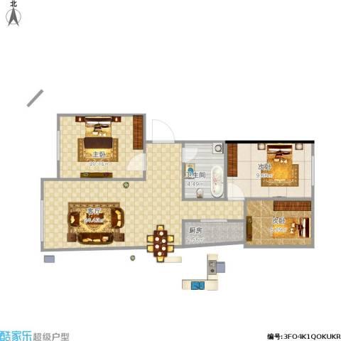 万达嘉园3室1厅1卫1厨78.00㎡户型图
