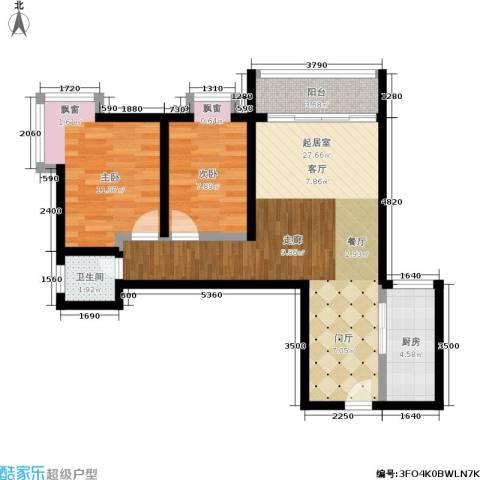 金沙居2室0厅1卫1厨67.00㎡户型图