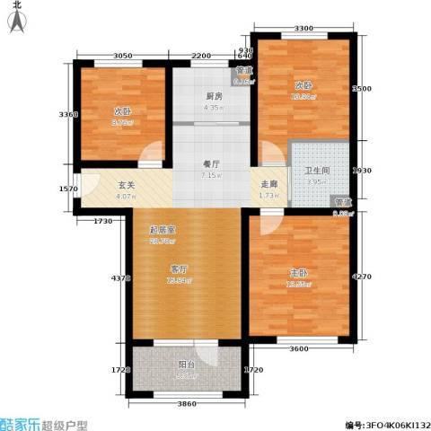 K2京西狮子城3室0厅1卫1厨89.00㎡户型图