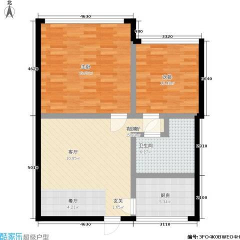 平安居2室1厅1卫1厨74.00㎡户型图