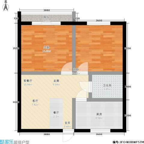 平安居2室1厅1卫1厨60.00㎡户型图