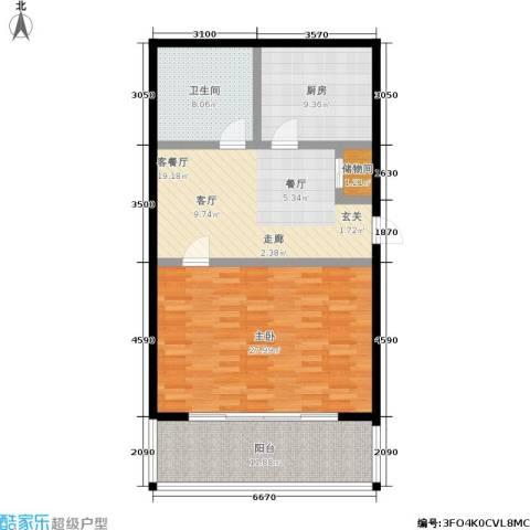 平安居1室1厅1卫1厨88.00㎡户型图
