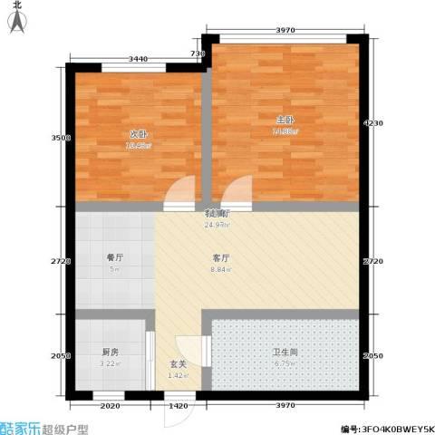 平安居2室1厅1卫1厨65.00㎡户型图