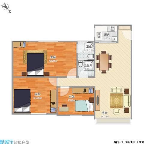 天龙花园3室1厅2卫1厨89.00㎡户型图