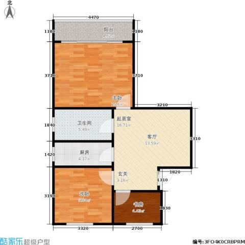 水星阁3室0厅1卫1厨66.00㎡户型图