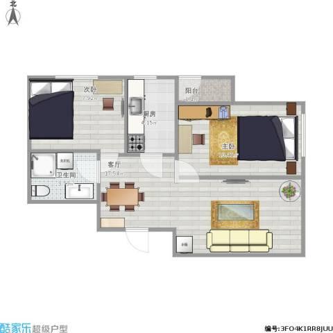明光水岸2室1厅1卫1厨62.00㎡户型图