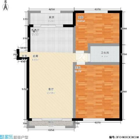 水木清华公寓2室1厅1卫1厨91.00㎡户型图