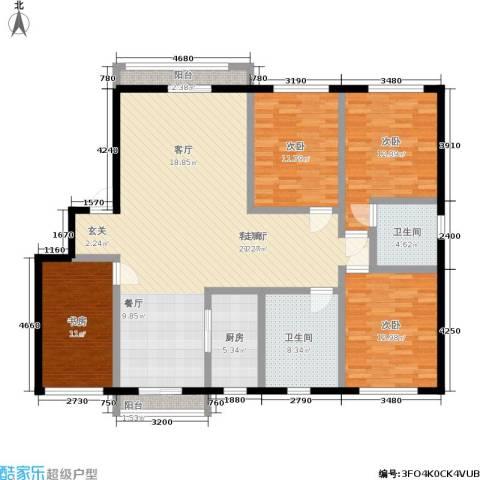 水木清华公寓4室1厅2卫1厨140.00㎡户型图