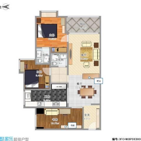 和润家园3室1厅2卫1厨121.00㎡户型图