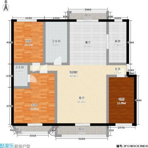 水木清华公寓3室1厅2卫1厨127.00㎡户型图