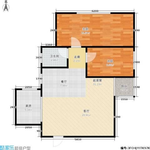 湖畔花园2室0厅1卫1厨88.00㎡户型图
