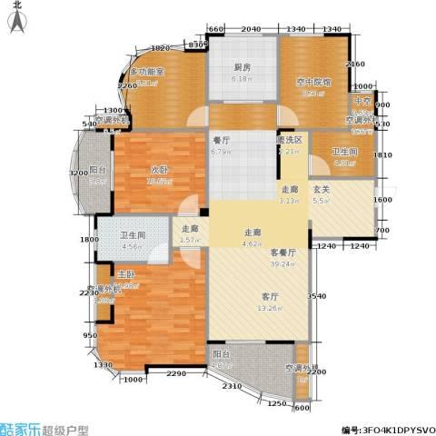 公园世家2室1厅2卫1厨124.00㎡户型图