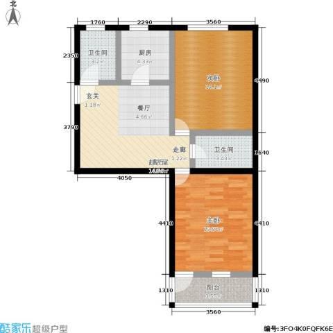 景芳五区2室0厅2卫1厨67.00㎡户型图