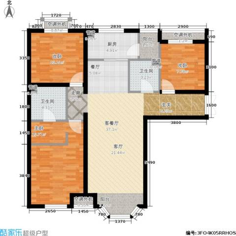 首创·伊林郡3室1厅2卫1厨119.00㎡户型图