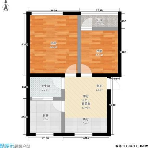 景芳五区2室0厅1卫1厨53.00㎡户型图