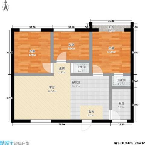 孩儿巷3室0厅2卫1厨72.00㎡户型图