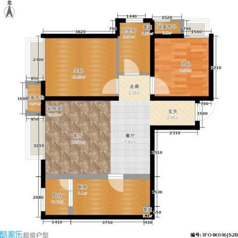首开璞瑅2室0厅1卫1厨88.00㎡户型图