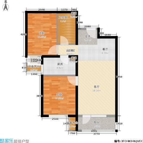 首开璞瑅2室0厅1卫1厨90.00㎡户型图
