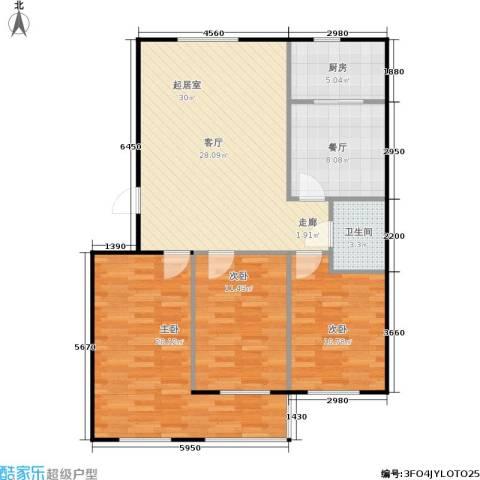金色时代3室1厅1卫1厨119.00㎡户型图