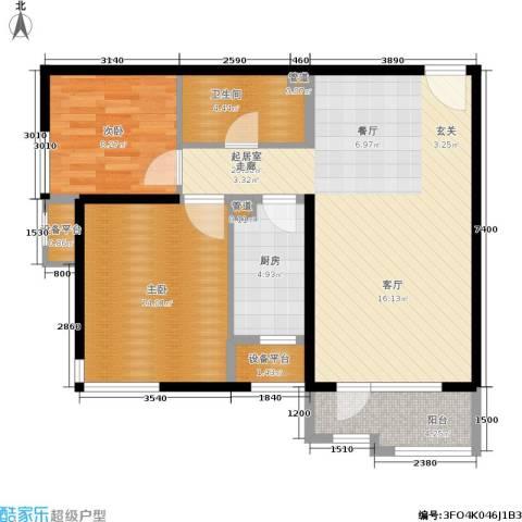 首开璞瑅2室0厅1卫1厨94.00㎡户型图