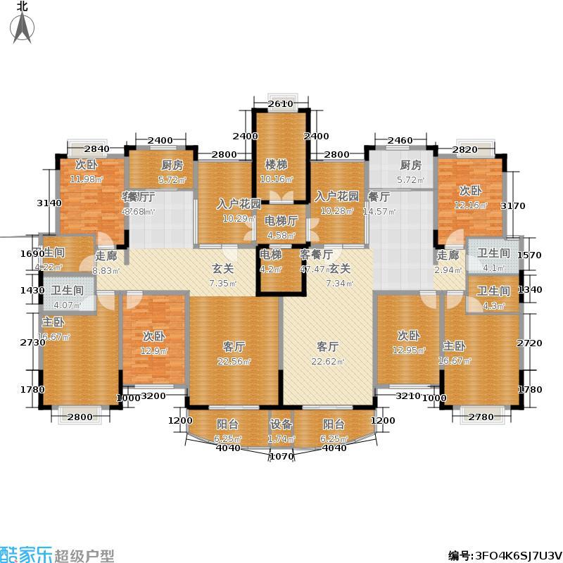 海南世纪花园136.22㎡E户型图 3室2厅2卫户型