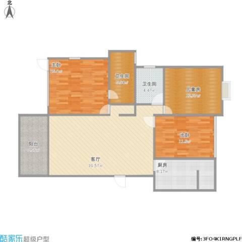 辰兴天御3室1厅2卫1厨131.00㎡户型图