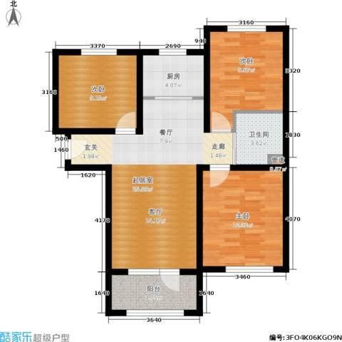 K2京西狮子城3室0厅1卫1厨88.00㎡户型图