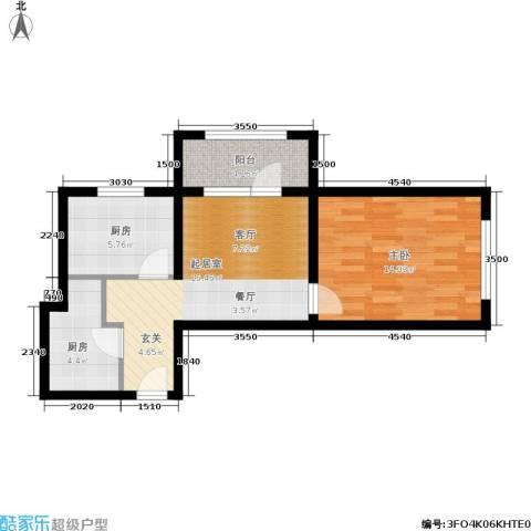 K2京西狮子城1室0厅0卫2厨52.00㎡户型图