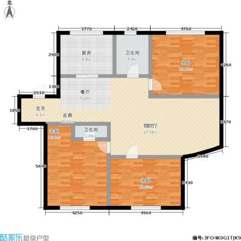 和平小区3室1厅2卫1厨127.00㎡户型图