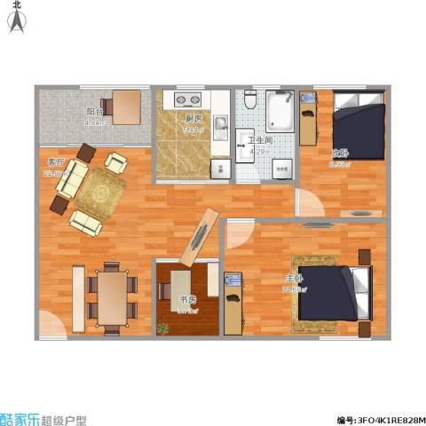 普晖村3室1厅1卫1厨88.00㎡户型图
