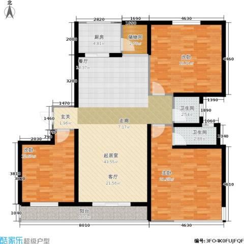 东都公寓3室0厅2卫1厨129.00㎡户型图